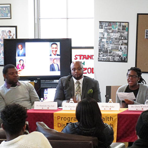 Black student union forum - people on the panel