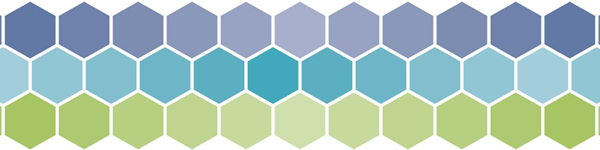 Abstract graphic featuring hexagons and various shades of green, aqua, and blue