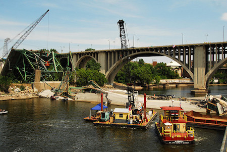 The collapsed I-35W bridge in 2007