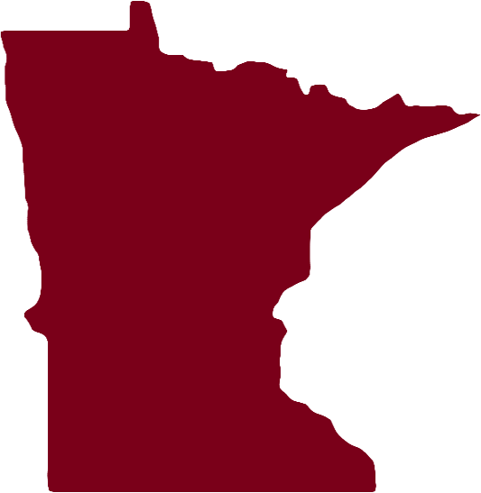 Red map of the state of Minnesota