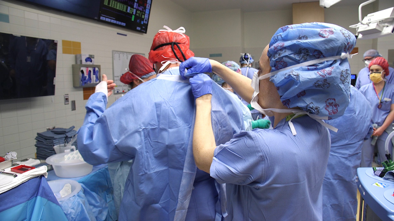 The surgical team prepares for the twins' separation procedure.