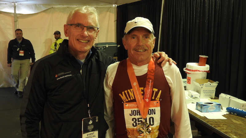 Dr. William Roberts poses with Robert Johnson, M.D., another faculty member in the Department of Family Medicine who has competed in every Twin Cities Marathon