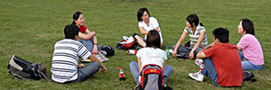 Group of students on campus lawn