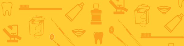 Illustration with gold background representing the School of Dentistry