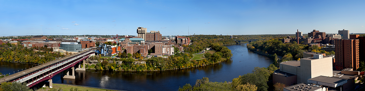 Panorama of University of Minnesota, Minneapolis campus on Mississippi River